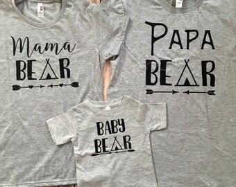 Mama Bear, Papa Bear, Baby Bear, Brother, Sister, Man Cub, Bear Cub, Aunt Bear, Uncle Bear, Grandpa Bear, Grandma Bear, T-Shirt Set