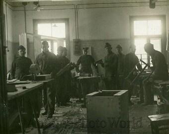 Soldiers carpenter shop woodworking antique photo