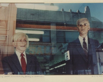 Andy Warhol and David Bowie mannequins strange surreal vintage art photo