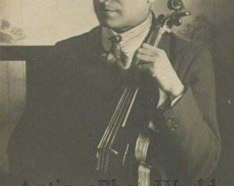 Music teacher violin player Professor Edmondo Luccini antique photo