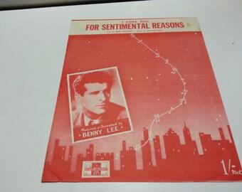 I love you for sentimental reasons, Deek Watson, Benny Lee Featured, vintage music sheet,