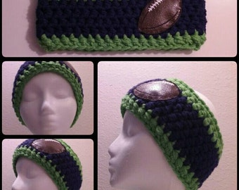 Seattle Seahawks Inspired, Crochet, Chunky, Football, Earwarmer/Headband, Blue and Green, Teen/Adult (23 Inch Size)