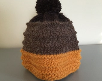 Womens Hat, Winter Hat, Brown, Pom Pom, Mustard, Ribbed Hat, Warm Hat, Gift for Her, Multi Color, Accessories, Teen Boy, Knit Hat, Beanie,