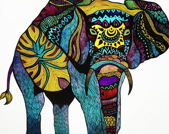 Poster Print in 8 x 10 or 11 x 14 - Elephant of Namibia Tribal Illustration - For Your Home Decor