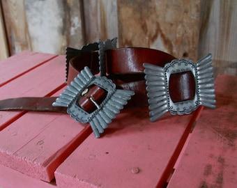 Rare Vintage Zuni Navajo Southwest Leather Concho Belt