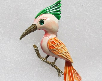 Vintage Orange and Green Pot Metal Woodpecker Brooch Pin