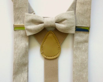 Boy toddler bow ties and suspenders, Khaki toddler boy Easter outfit, spring kids bow tie set, infant bow tie set - made to order