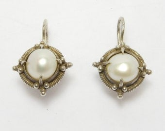 Sterling Freshwater Pearl Leverback Earrings Pretty