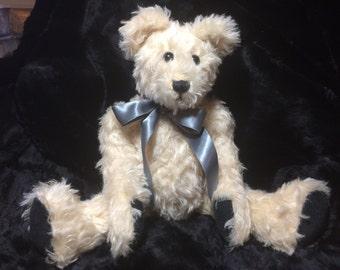 HUNTER - Handmade Artist Wavy Cream Colored Mohair Teddy Bear