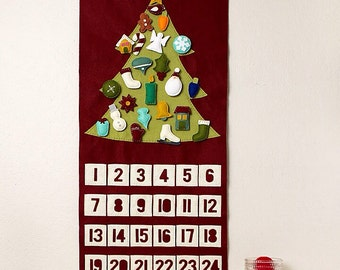 Christmas Tree Advent Calendar - Felt Advent Calendar - Wall Hanging- Felt Garland - Christmas Decor - Home Decor