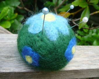 Pretty Felted Pincushion, Needle Felted,  Flowers, Wool, Handmade Pin Keep, Pin Cushion