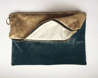Teal Velvet and Gold Fold Over Clutch