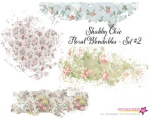 Vintage Shabby Chic Floral Overlays Vol 2 - Blendable - Page Element Blender - Digital Stamp - Digital Page Overlay - Texture Overlay Papers