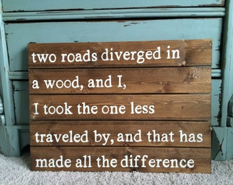 Wooden Sign- Pallet Art The Road Less Traveled
