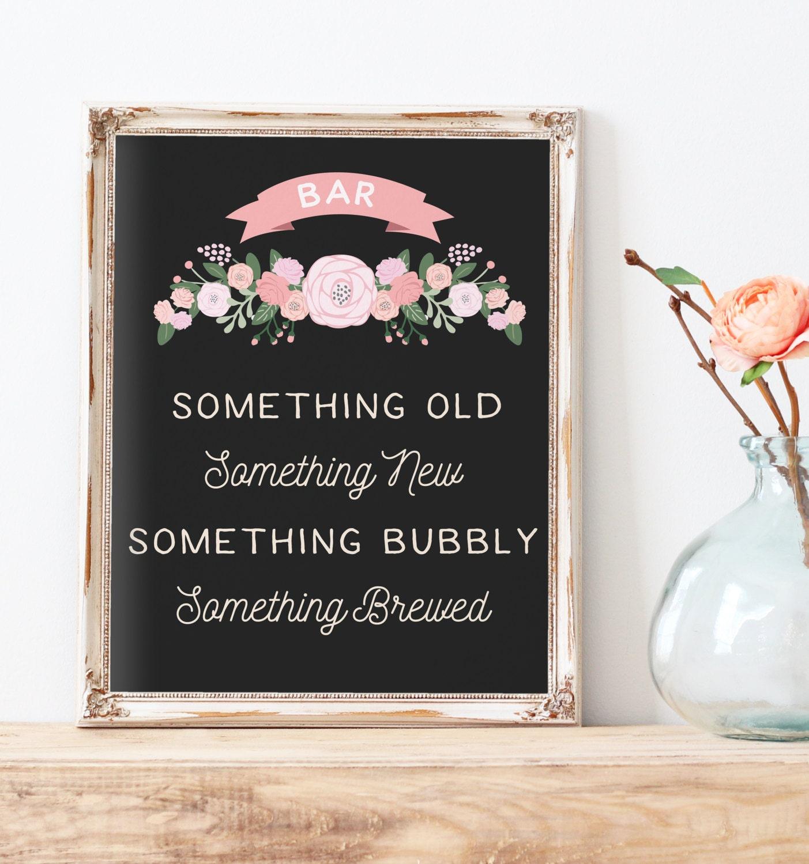 Rustic Wedding Bar Table Sign Printable Something Old