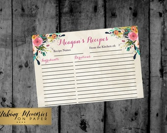 Floral Watercolor Recipe Cards, Floral Recipe Cards, Shower Recipe Cards, Wedding, printable Recipe cards, Shower game- sfc