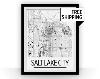 Salt Lake City Map Poster - usa Map Print - Art Deco Series