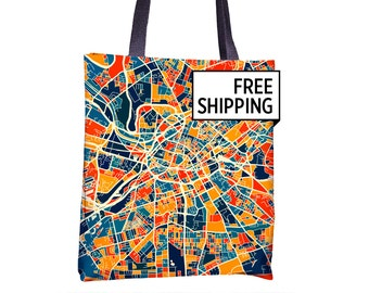 Manchester Map Tote Bag - England Map Tote Bag 15x15