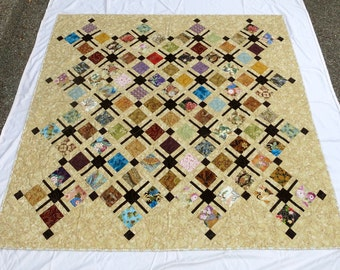 Large Asian Inspired Quilt - Large Wall Hanging Quilt - Large Lap Quilt - Quiltsy Handmade  Lap Quilt