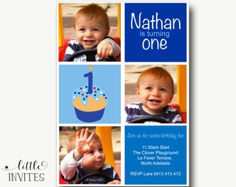 Boys birthday invitation/First Birthday Invitation/boys first birthday/Printable/Blue birthday invitation/1st birthday invite-Nathan