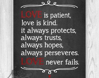 Love Never Fails, 1 Corinthians Scripture Print, Wedding Bible Quote, Chalkboard wall decor, Home Decor, Art Print or Canvas