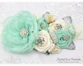 Wedding Sash Bridal Jeweled Flower Sash Custom Belt in Ivory Mint Aqua with Brooches, Handmade Flowers Beach Wedding