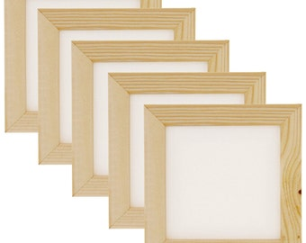 "Art Alternatives 3""x3"" Mini Canvas & Frame Set - White Canvas with Natural Wood Frame (5-Pack)"