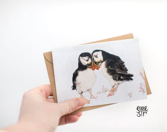 Puffin card, puffin greeting card, love card