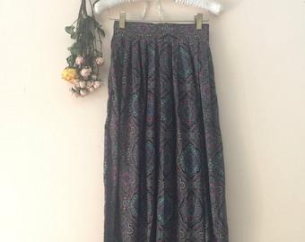 vintage dark colored paisley skirt