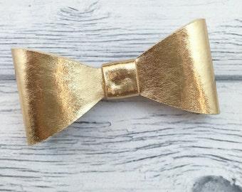 Gold Metallic Felt Bow on French Clip