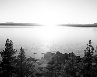Black and White Tahoe Sunset