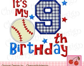 My 9th Birthday applique,Baseball birthday number 9,Birthday numbers embroidery design-4x4 5x5 6x6 inch-Machine Embroidery Applique Design