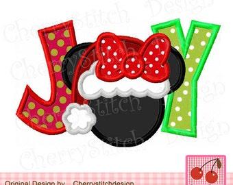 Christmas JOY Minnie Machine Embroidery Applique - approximate 4x4 5x5 6x6 inch CH0028