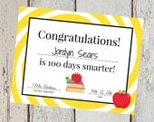 INSTANT Download Yellow 100th Day of School yellow Congrats Certificate  PRINTABLE Download - Fun diy