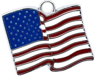 2 American flag pendant, America flag-enamelled, 23 x 21 mm
