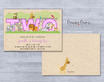Zoo Number Birthday Invitation -  Number Can Be Customized - Safari Party Invite - Zoo Animals Invite - Kid's Birthday - Digital File