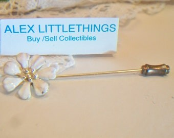 Vintage White Flower Enamel Stick Pin Floral Daisy Costume Jewelry Fashion Accessories For Her