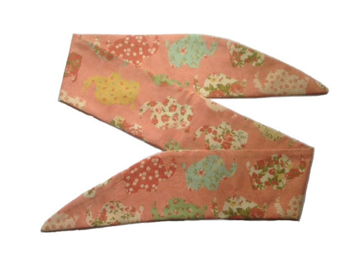 50s Pink Floral Elephant Head Scarf With Wire or Not Vtg Hair Tie Thailand India Africa Safari Flower