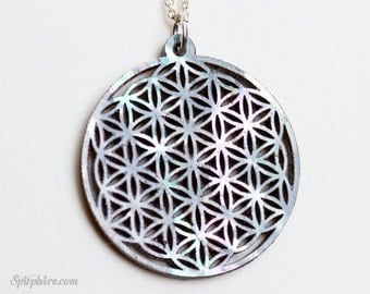 Mother of Pearl Flower of Life Necklace - Large - Sacred Geometry Pendant - Laser Cut