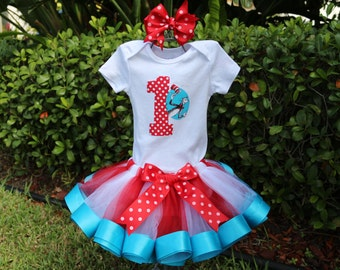 Dr. Suess Thing 1, Thing 2 Inspired Birthday Girl Outfit-Red and White Tulle w/ Turquoise Ribbon Trim Tutu, Red Polka Dot Age & Dr. Suess, B
