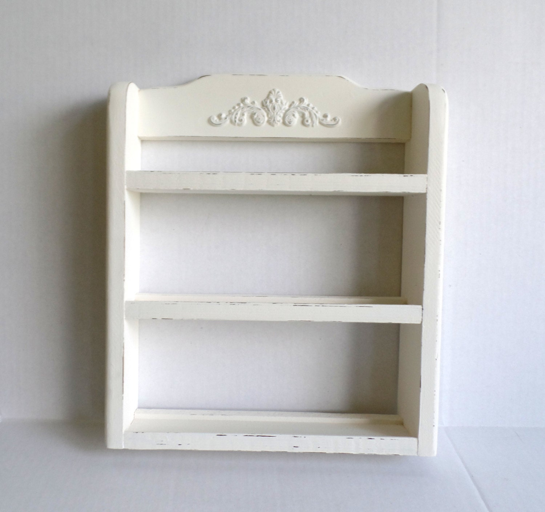 wall shelf spice rack vintage wood three tier painted. Black Bedroom Furniture Sets. Home Design Ideas