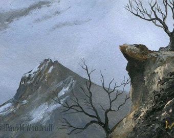 "ACEO original mountain painting, art card atc, ""Storm Peaks 73"""