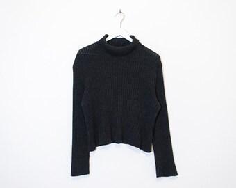 on sale - dark speckled grey crop turtleneck / ribbed pullover knit sweater / size L