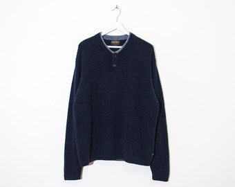 on sale - dark speckled blue button-up collar knit / unisex long sleeve pullover sweater / size L / XL