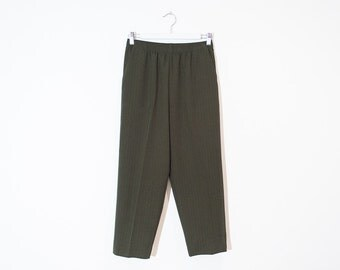 high waist khaki green trousers / olive striped cropped pants / size S / M