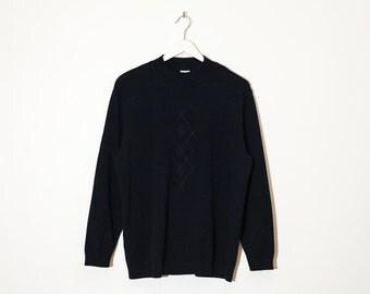 on sale - navy mock neck knit sweater / long sleeve jersey pullover / size L