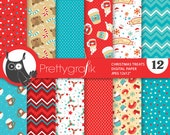 80% 0FF SALE Christmas treats digital paper, papers commercial use,  scrapbook papers, scrapbooking papers - PS824