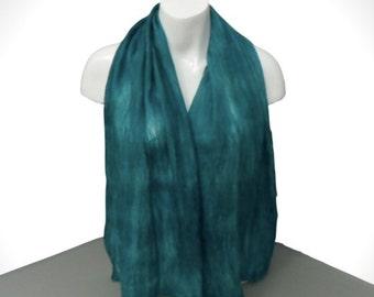 Sea green glitzy nuno felted scarf, gift boxed