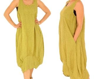 HH700GN Damen Kleid Leinen Tunika Gr. 42 44 46 48 50 52 grün