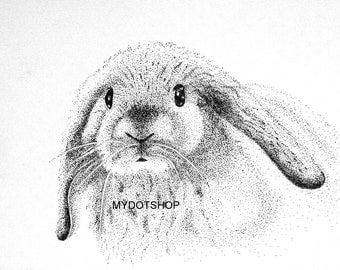Original Pen and Ink Pointillism Drawing of a RABBIT